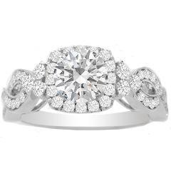 Jacinda Diamond Engagement Ring Setting in 14K White Gold; 0.63 ct