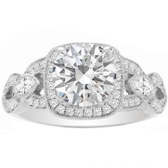 Marquise Accent Engagement Ring in 14K White Gold; 0.37 ctw