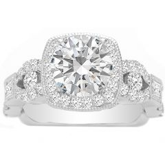 Quendalyn Antique Engagement Ring Setting in 14K White Gold; 0.81 ctw