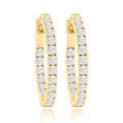 14K Diamond Hoop Earings; 1.40 ctw