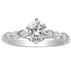 14K White Gold Vintage Style Engagement Ring - Angelyn; 1.30 ctw
