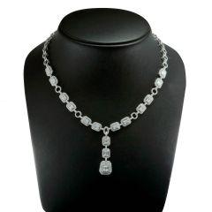 Princess 14k WG Diamond Necklace; 8.13 CTW