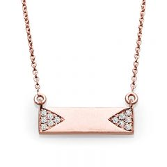 14k Rose Gold Bar Necklace; 0.10 CTW