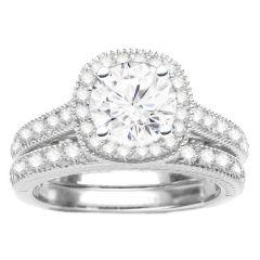 Diamond Engagement Ring Set in 14K White Gold- Josephine; 0.35 ct