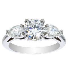 Adelina Three-Stone Pear Engagement Ring