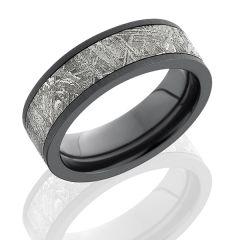 Zirconium Men's Wedding Band With Meteorite