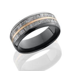 Zirconium Men's Wedding Band With Meteorite & 14K Inlay