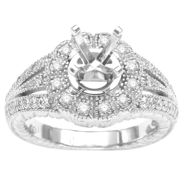 14K White Gold Diamond Engagement Ring; Diamond Weight 0.55 ctw image 0