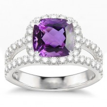 Amethyst in Cushion Cut Engagement Ring With Halo