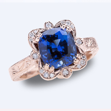 Custom Design - Blue Sapphire Rose Gold Ring