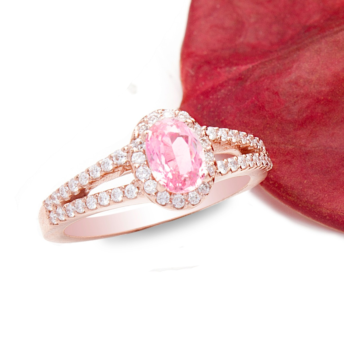 Pink Sahhpire Diamond Engagement Ring