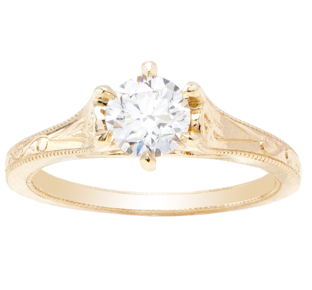 Unique Custom Solitaire Engagement Ring in yellow gold