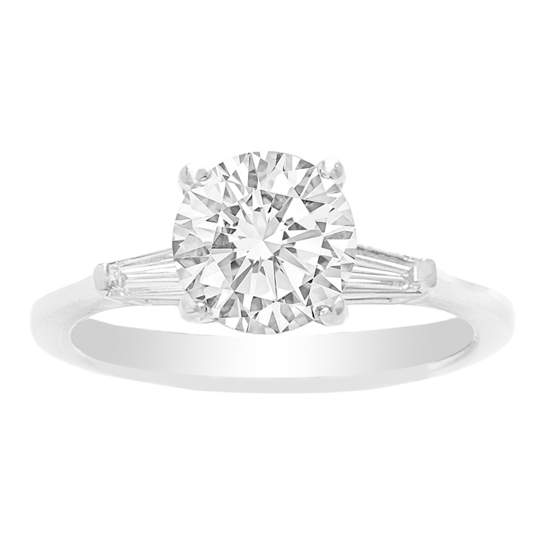 Custom Classic Engagement Ring in 14K white gold