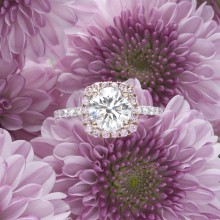 Natural Pink Halo Diamond Ring