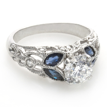 Custom 4 Blue sapphire marquise Ring