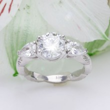 Custom Design - Three Stone Diamond Engagement Ring