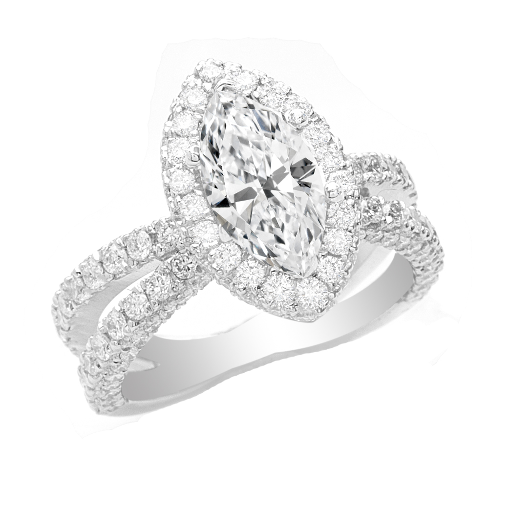Center Marquise Diamond Engagement Ring