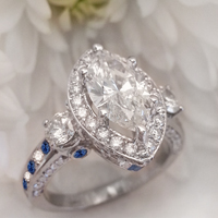 Custom 14K White Gold Marquise Halo Diamond & Sapphire Engagement Ring